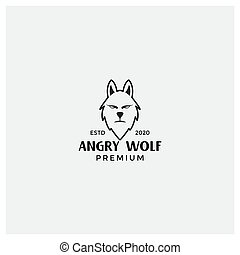 angry wolf face vintage line logo design template