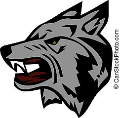 Angry wolf head. Beautiful wolf tattoo. Wild wolf logo vector stock.