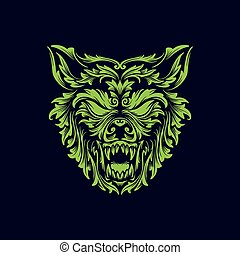 angry wolf head creative logo icon design vector illustration