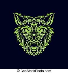 angry wolf head creative logo icon design vector illustration