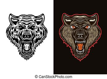Angry wolf head in two styles black  and colorful