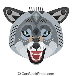 Angry wolf head Logo. Vector decorative Emblem.