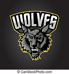 angry wolf head mascot logo for esports team