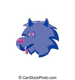 angry wolf head on white background