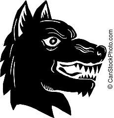 Angry Wolf Head Side Woodcut