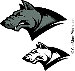 Angry wolf head. Sport team mascot. Design element for logo, lab