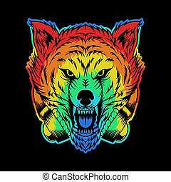 angry wolf headphone colorful illustration