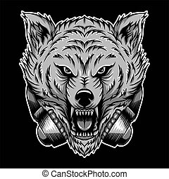 angry wolf headphone vector illustration