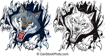 Angry Wolf Ripping out Background - Vector cartoon clip art...