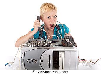 angry woman and computer