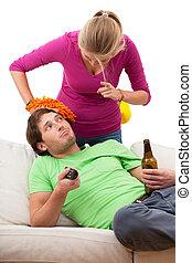 Angry woman and his husband