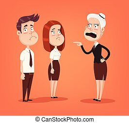 Angry woman boss character scream on employee office workers. Vector flat cartoon illustration