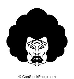 Angry woman face icon. grumpy wife portrait. terrible irate female head
