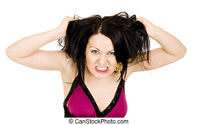 Angry woman holding hair