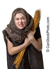 Angry woman in old scarf