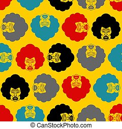 Angry woman pattern seamless. Grumpy wife face background. ...