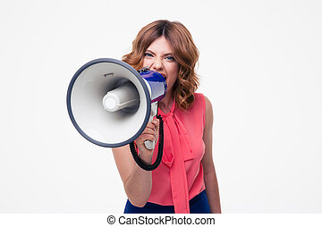 Angry woman shouting in megaphone