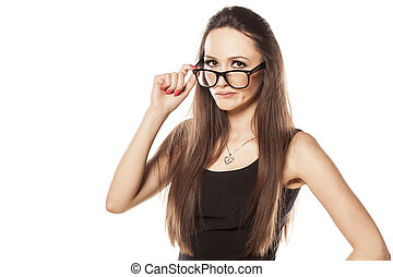angry woman - suspicious young woman on white background