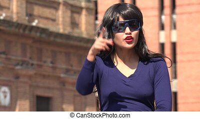 Angry Woman Wearing Sunglasses And Wig