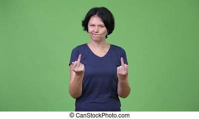 Angry woman with short hair showing both middle fingers