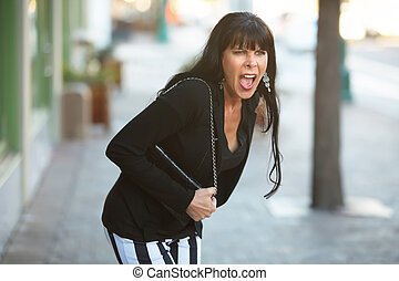 Angry Woman Yelling on a Street