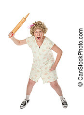 Angry womn with rolling pin - Housewife on white background...