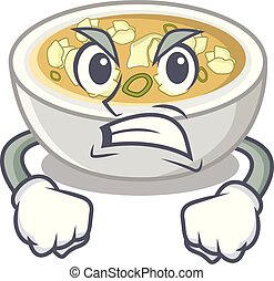 Angry wonton soup in a cartoon bowl