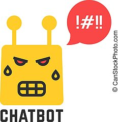 angry yellow chatbot icon on white background