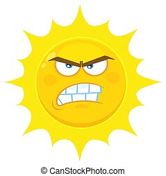 Angry Yellow Sun Cartoon Emoji Face Character With...