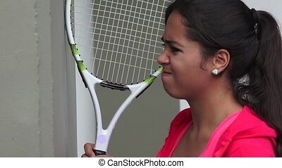 Angry Young Female Tennis Player