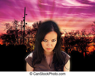 Angry young woman at the dusk
