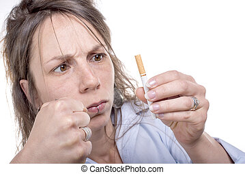 young woman decides to stop smoking - angry young woman ...