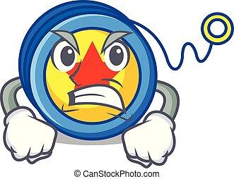 Angry yoyo mascot cartoon style vector illustration