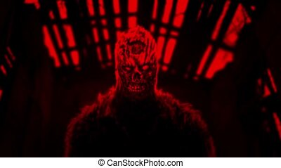Angry zombie animation. Red color background. Genre of...