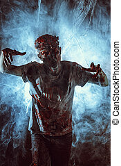 angry zombie - Terrible bloody zombie man with the brains...