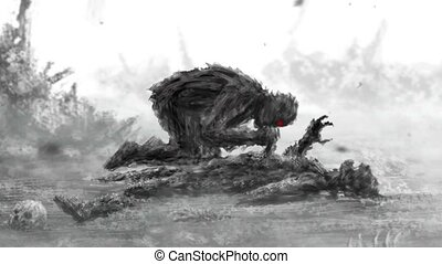 Angry zombie sits and eats its prey. Animation in genre of...