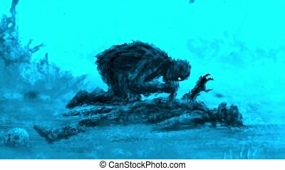Angry zombie sits and eats its prey. Blue background - Angry...