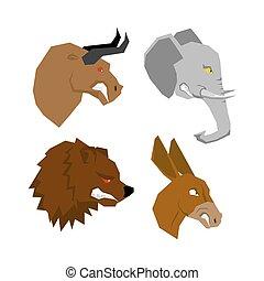 angryl, 動物, set., 攻撃的である, 雄牛, ∥で∥, 赤, eyes., 恐い, 象, ∥で∥, tusks., 恐ろしい, 熊, ∥で∥, a, grin., どう猛, ろば, ∥で∥, 長い間, ears., 野生 動物