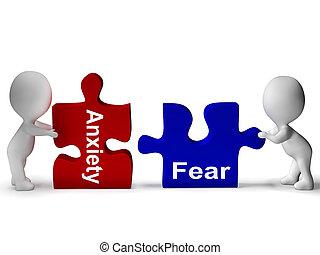 angst, mittel, puzzel, besorgt, ängstlich, fürchten