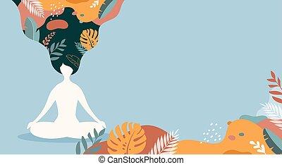 angsten, pastel, vektor, kvinde, vinhøst, farver, med benene over kors, siddende, meditating., baggrund, illustration, meditation, yoga., mindfulness, coping, stress