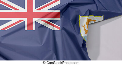 Anguilla fabric flag crepe and crease with white space, Blue Ensign with the British flag and the coat of arms of Anguilla in the fly.