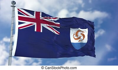 Anguilla Flag in a Blue Sky