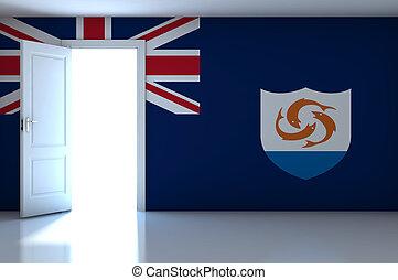 Anguilla flag on empty room