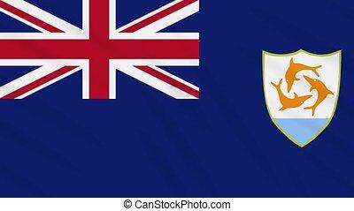 Anguilla flag waving cloth background, loop
