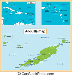 Anguilla Map - Map of Anguilla drawn with high detail and...