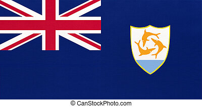 Anguilla national fabric flag, textile background. Symbol of British overseas territory in the Caribbean