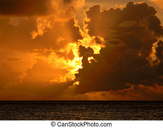 Sunset over the ocean off the coast of Anguilla, British West Indies.