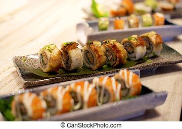 anguilla, sushi, piatto da portata