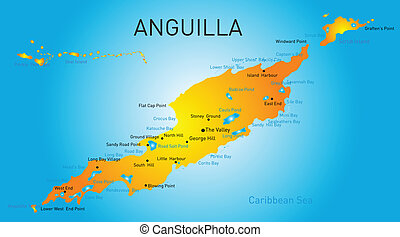 Anguilla territory vector color map
