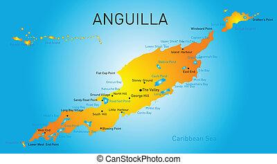 Anguilla territory vector color map